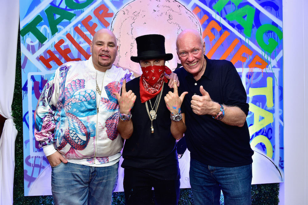 Hip-Hop artis Fat Joe, Artist Alec Monopoly and TAG Heuer CEO Jean-Claude Biver at TAG Heuer Miami Design District on November 29, 2016 in Miami, Florida