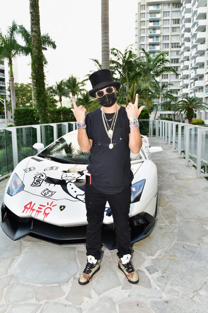Artist Alec Monopoly attends TAG Heuer Announces Their New Art Provocateur! at Art Basel Miami at Mondrian South Beach on November 30, 2016 in Miami, Florida