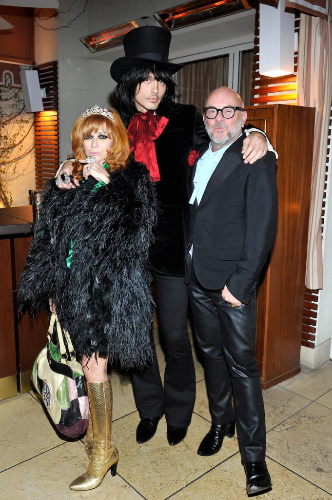 (L-R) Linda Ramone, musician J.D. King and florist Eric Buterbaugh attend an intimate dinner hosted by Derek Blasberg, Sandro Founder & Artistic Director Evelyne Chetrite and Vanity Fair at Sunset Tower Hotel on December 7, 2016 in West Hollywood, California