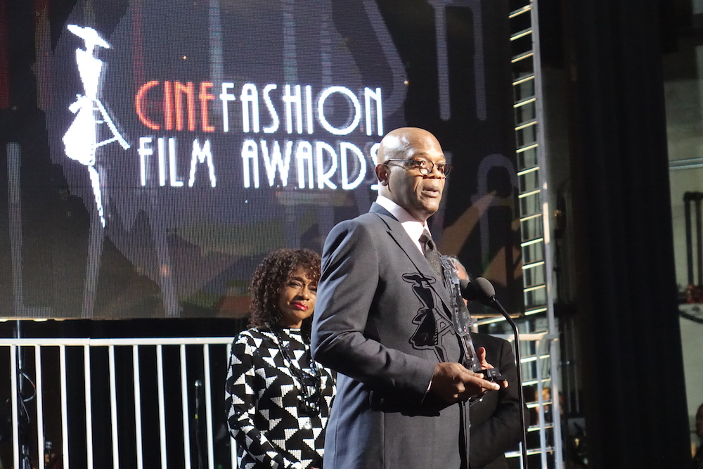 Samuel Jackson received the CinéFashion Film Timeless Icon Award on behalf of Sidney Poitier