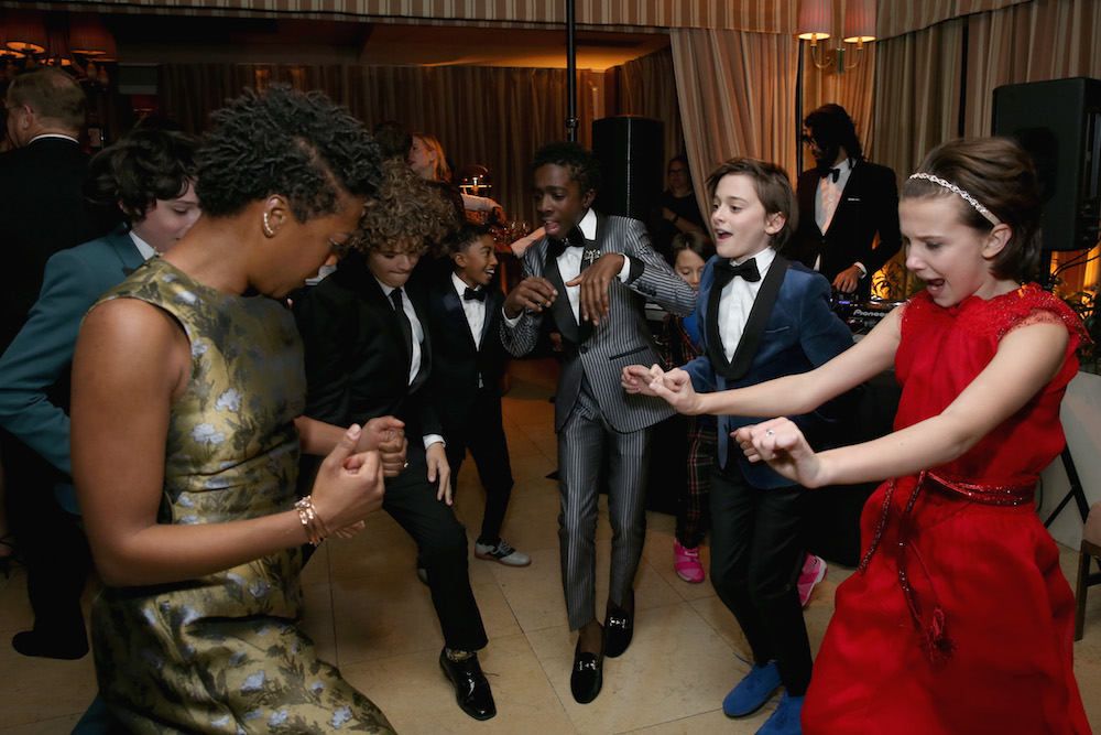 TActors Samira Wiley, Gaten Matarazzo, Miles Brown, Caleb McLaughlin, Noah Schnapp and Millie Bobby Brown attend The Weinstein Company & Netflix's 2017 SAG After Party in partnership with Absolut Elyx at Sunset Tower Hotel on January 30, 2017 in West Hollywood, California