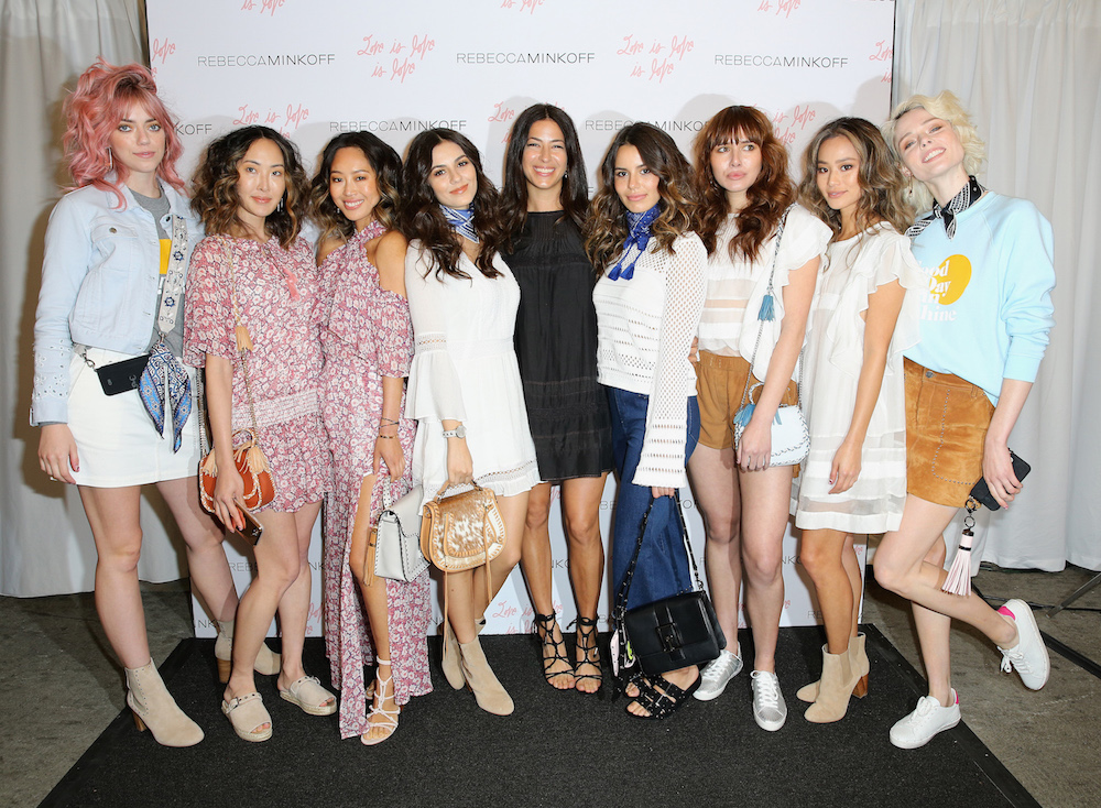 (L-R) Pyper America Smith, Chriselle Lim, Aimee Song, Victoria Justice, designer Rebecca Minkoff, Maddy Justice, Natalie Suarez, Jamie Chung and Coco Rocha attended designer Rebecca Minkoff?s Spring 2017 ?See Now, Buy Now? Fashion Show at The Grove on February 4, 2017 in Los Angeles, California