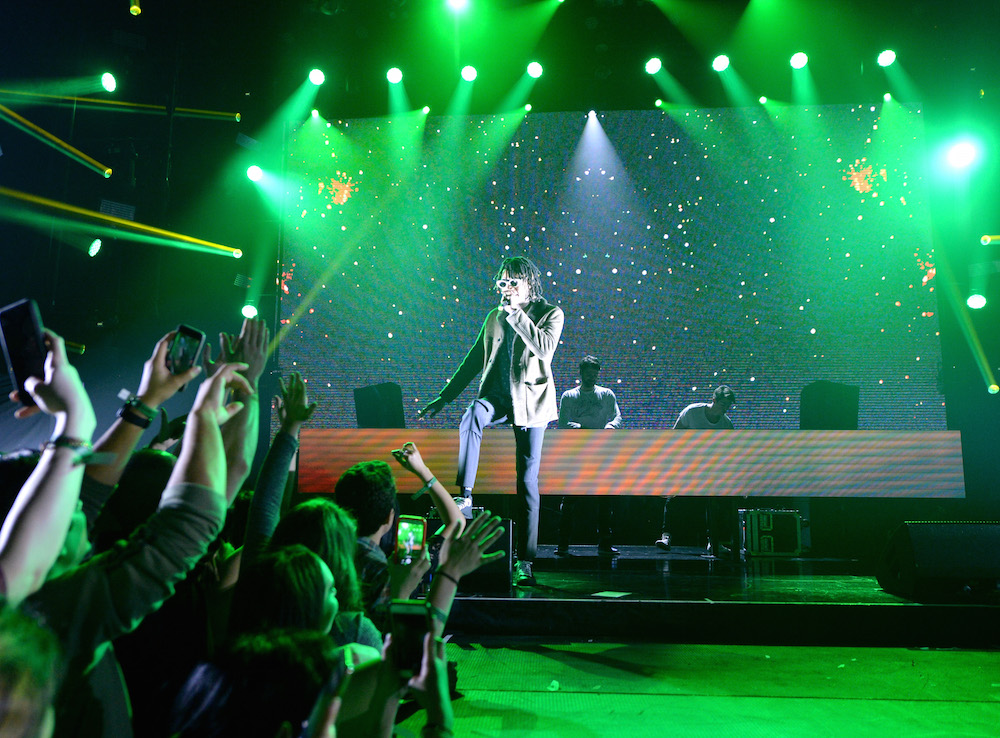 Rapper Wiz Khalifa, Drew Taggart and Alex Pall of The Chainsmokers perform onstage during the Spotify Best New Artist Nominees celebration at Belasco Theatre on 9, 2017 in Los Angeles, California