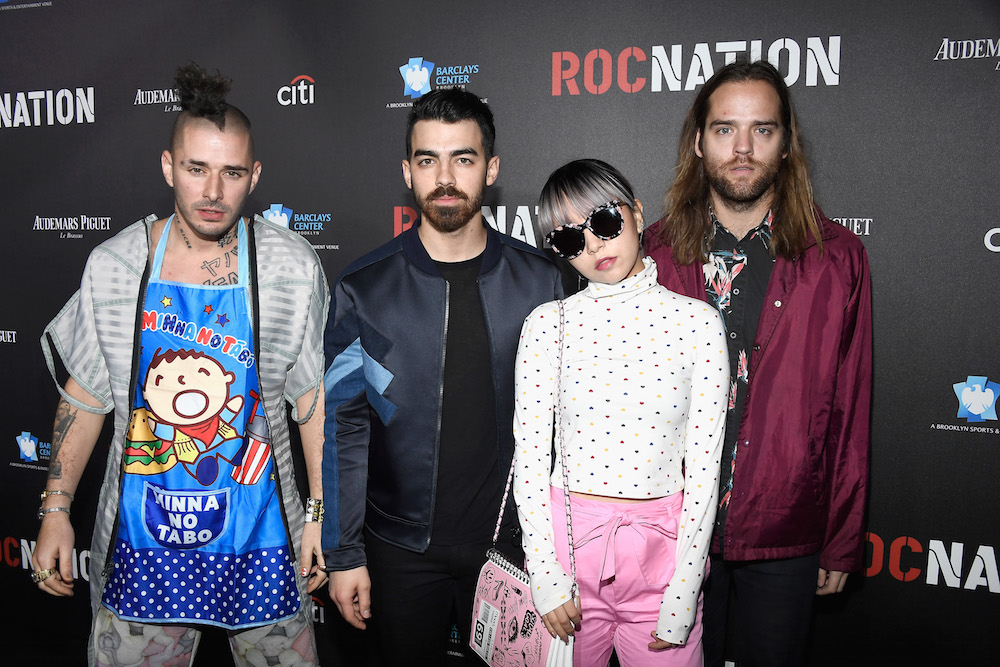 Musicians Cole Whittle, Joe Jonas, JinJoo Lee, and Jack Lawless of DNCE attend 2017 Roc Nation Pre-Grammy Brunch at a private residence on February 11, 2017 in Los Angeles, California