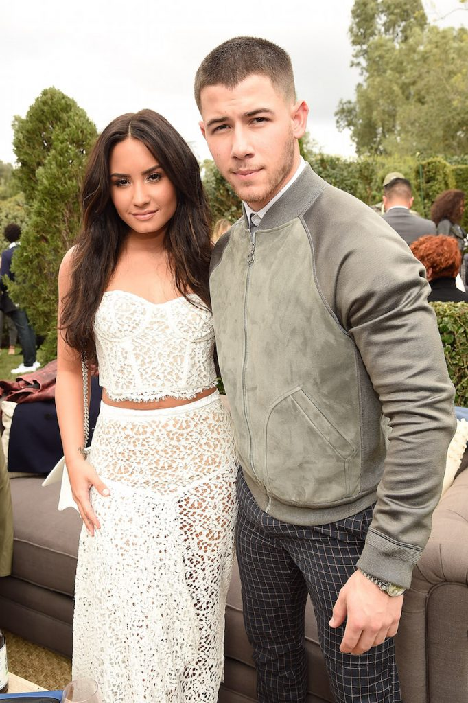 Demi Lovato and Nick Jonas attend 2017 Roc Nation Pre-GRAMMY brunch at Owlwood Estate on February 11, 2017 in Los Angeles, California