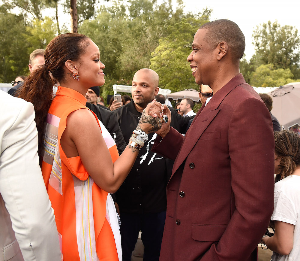 Rihanna and Jay Z attend 2017 Roc Nation Pre-GRAMMY brunch at Owlwood Estate on February 11, 2017 in Los Angeles, California