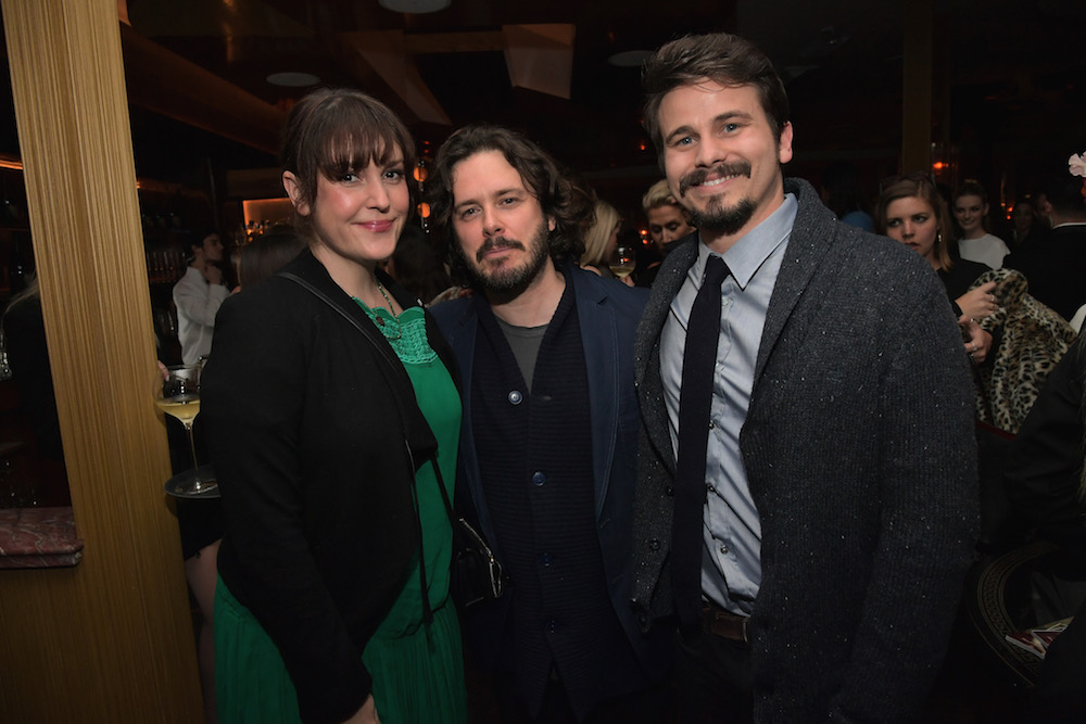 (L-R) Actor Melanie Lynskey, director Edgar Wright and actor Jason Ritter attend Vanity Fair and L'Oreal Paris Toast to Young Hollywood hosted by Dakota Johnson and Krista Smith at Delilah on February 21, 2017 in West Hollywood, California