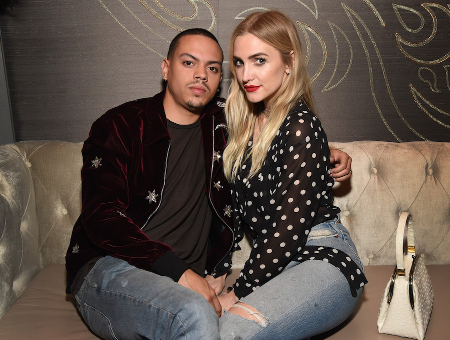 Actor Evan Ross (L) and singer Ashlee Simpson attend day one of TAO, Beauty + Essex, Avenue + Luchini LA Grand Opening on March 16, 2017 in Los Angeles, California