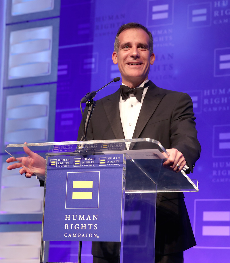 Los Angeles Mayor Eric Garcetti speaks onstage at The Human Rights Campaign 2017 Los Angeles Gala Dinner at JW Marriott Los Angeles at L.A. LIVE on March 18, 2017 in Los Angeles, California