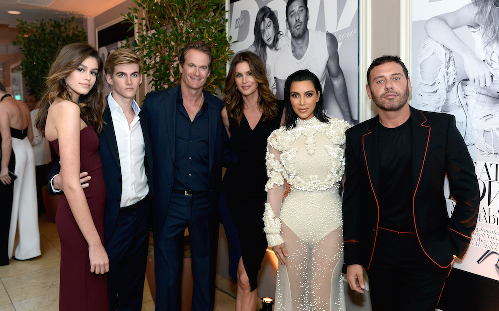 (L-R) Kaia Gerber, Presley Gerber, Rande Gerber, Cindy Crawford, Kim Kardashian West and Mert Alas attend the Daily Front Row's 3rd Annual Fashion Los Angeles Awards at Sunset Tower Hotel on April 2, 2017 in West Hollywood, California