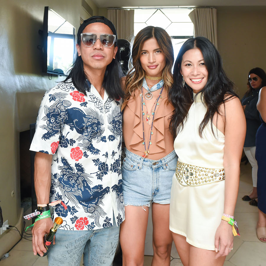 Michael Mente, Rocky Barnes, and Raissa Gerona attends the #REVOLVEfestival at Merv Griffin Estate