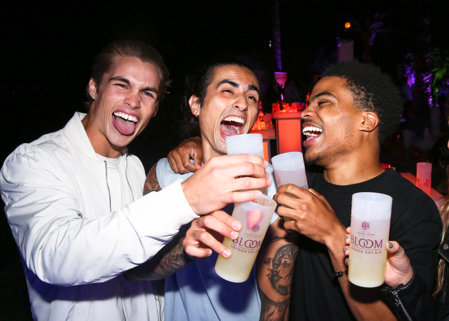 Jon Herrmann, Shayan Mousavipour, and Chance Bolden at the Drupe Los Angeles Launch Party: Presented by BLOOM Gin