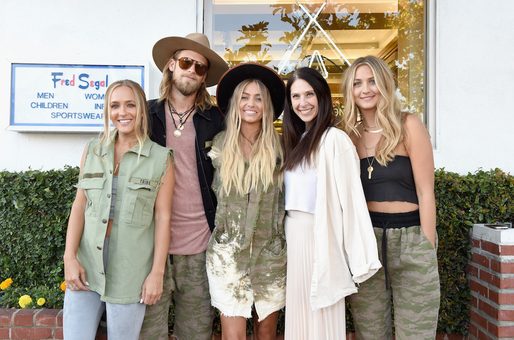 (L-R) Tribe Kelleys' Kylie Jarriel, co-founder Brian Kelley, co-founder Brittney Kelley, Jensen Sussman and Mary-Margaret Brown attend Tribe Kelley Debuts at Ron Robinson on May 23, 2017 in Los Angeles, California