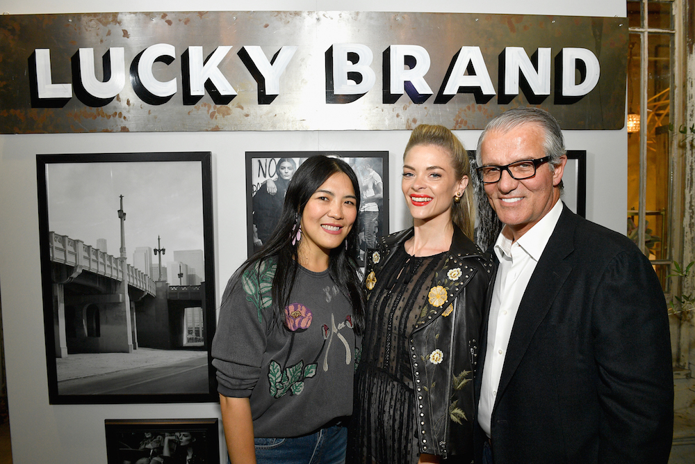 (L-R) Chief Creative Officer, Lucky Brand, Kin Ying Lee, Actor Jaime King and Chief Executive Officer, Lucky Brand, Carlos Alberini at Lucky Brand Presents Lucky Lives On FW 2017 Preview on May 12, 2017 in Los Angeles, California