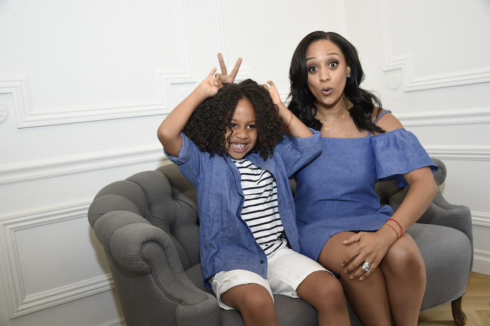 Tia Mowry with son Cree Taylor Hardrict attend the Launch of J&J by Janie and Jack
