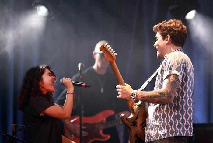 Alessia Cara (L) and John Mayer perform for Bud Light's Dive Bar Tour at the Echoplex In Los Angeles on July 26, 2017 in Los Angeles, California