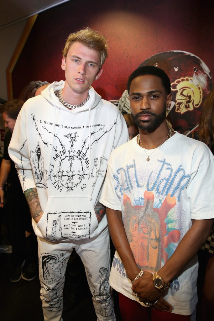 (L-R) Machine Gun Kelly and Big Sean backstage at Pandora Sounds Like You Summer at Los Angeles Memorial Coliseum on July 29, 2017 in Los Angeles, California