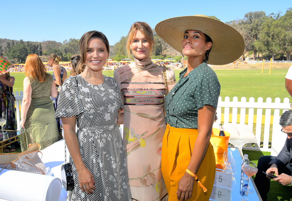 (L-R) Sophia Bush, Laura Dern, and Tracee Ellis Ross at the Eighth Annual Veuve Clicquot Polo Classic on October 14, 2017 in Los Angeles, California