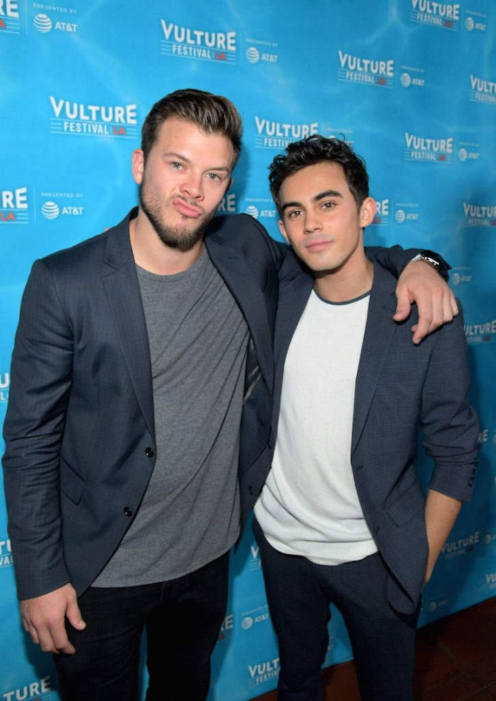 Actors Jimmy Tatro (L) and Tyler Alvaraz attend the 'American Vandal' panel during Vulture Festival LA presented by AT&T at Hollywood Roosevelt Hotel on November 19, 2017 in Hollywood, California