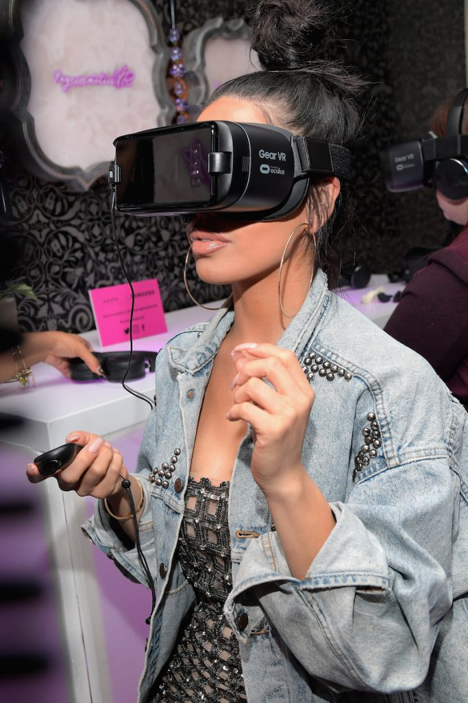 Beauty blogger Karen Gonzalez at the NYX Professional Makeup and Samsung VR Launch Party at Beauty & Essex on December 14, 2017 in Los Angeles, California