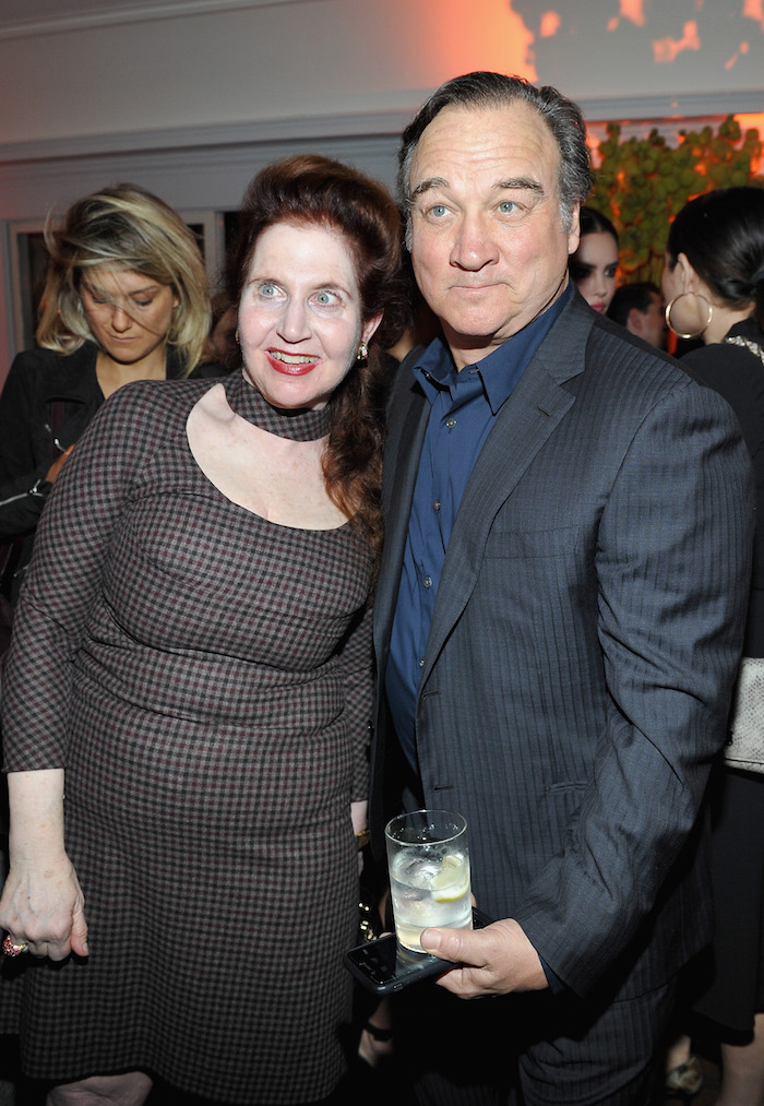 W Magazine's Lynn Hirschberg (L) and Jim Belushi attend W Magazine's Celebration of its 'Best Performances' Portfolio and the Golden Globes with Audi, Dior, and Dom Perignon at Chateau Marmont on January 4, 2018 in Los Angeles, California
