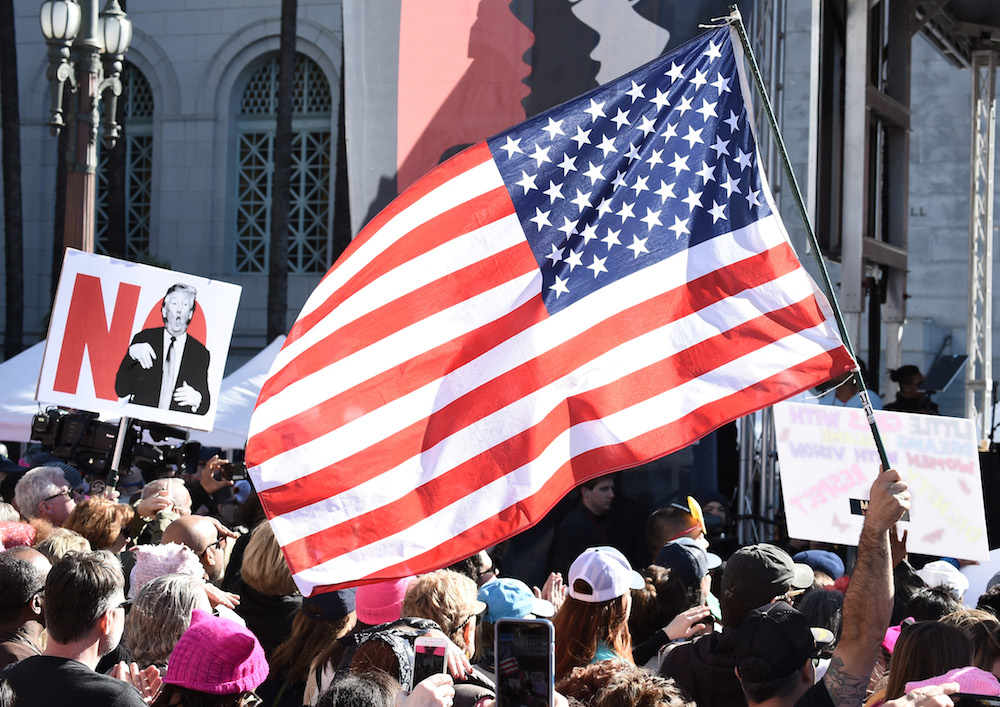 View of atmosphere at 2018 Women's March Los Angeles at Pershing Square on January 20, 2018 in Los Angeles, California