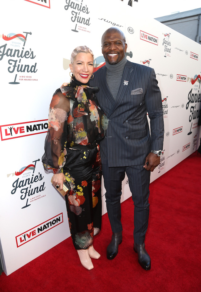 Rebecca King-Crews (L) and Terry Crews at Steven Tyler and Live Nation presents Inaugural Janie's Fund Gala & Grammy Viewing Party at Red Studios on January 28, 2018 in Los Angeles, California