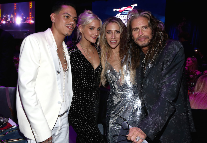 (L-R) Evan Ross, Ashlee Simpson, Aimee Preston, and Steven Tyler at Steven Tyler and Live Nation presents Inaugural Janie's Fund Gala & Grammy Viewing Party at Red Studios on January 28, 2018 in Los Angeles, California