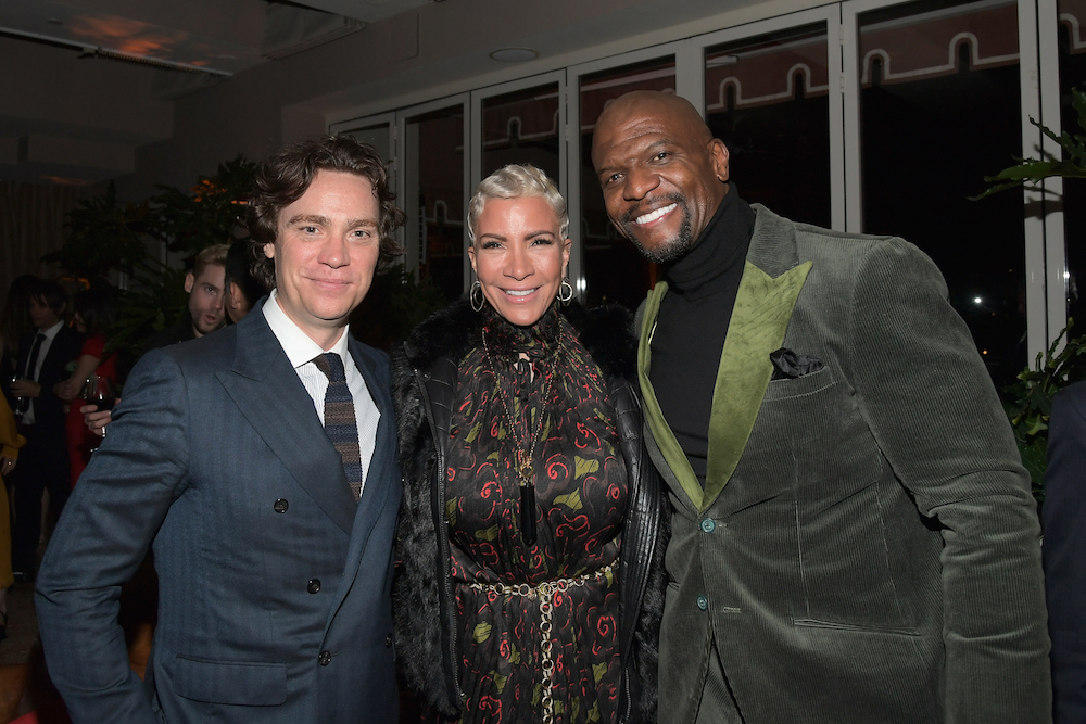 (L-R) Editor in Chief of Esquire Jay Fielden, wearing Hugo Boss, Rebecca King-Crews and Terry Crews attend Esquire's 'Mavericks of Hollywood' Celebration presented by Hugo Boss on February 20, 2018 in Los Angeles, California