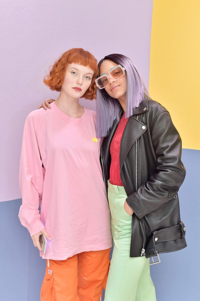 Kacy Hill (L) and Kelsey Lu attend Acne Studios West Hollywood Store Opening on March 22, 2018 in West Hollywood, California