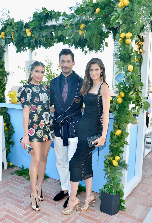 (L-R) Olivia Culpo, Bianca Balti and David Gandy, wearing Dolce & Gabbana, attend the Dolce & Gabbana Light Blue Italian Zest Launch Event at the Nomad Hotel Los Angeles on May 17, 2018 in Los Angeles, California