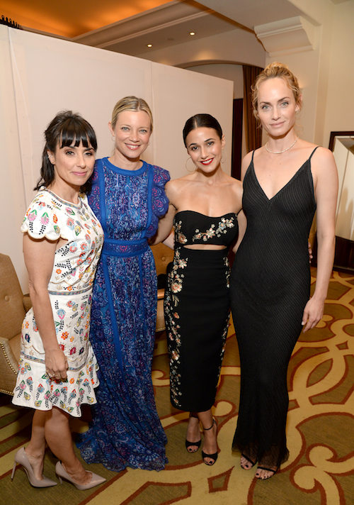 Constance Zimmer, Amy Smart Oosterhouse, Emmanuelle Chriqui and Amber Valletta attend the 28th Annual Environmental Media Awards at Montage Beverly Hills on May 22, 2018 in Beverly Hills, California