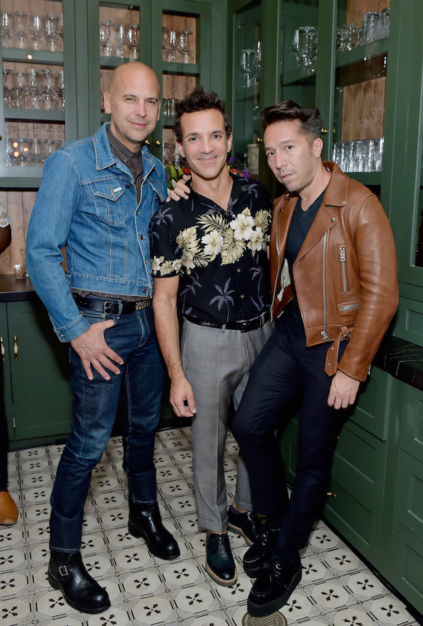 (L-R) Fashion designer Claude Morais, George Kotsiopoulos, and fashion designer Brian Wolk attend Beverly Center & The Advocate Kick-Off PRIDE Month with Champions of PRIDE Event on June 1, 2018 in Los Angeles, California