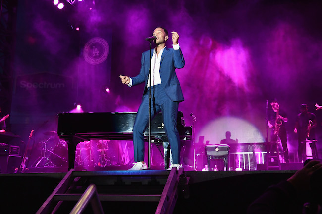 John Legend performs on stage at the Fourth Annual Los Angeles Dodgers Foundation Blue Diamond Gala at Dodger Stadium on June 11, 2018 in Los Angeles, Californiaala