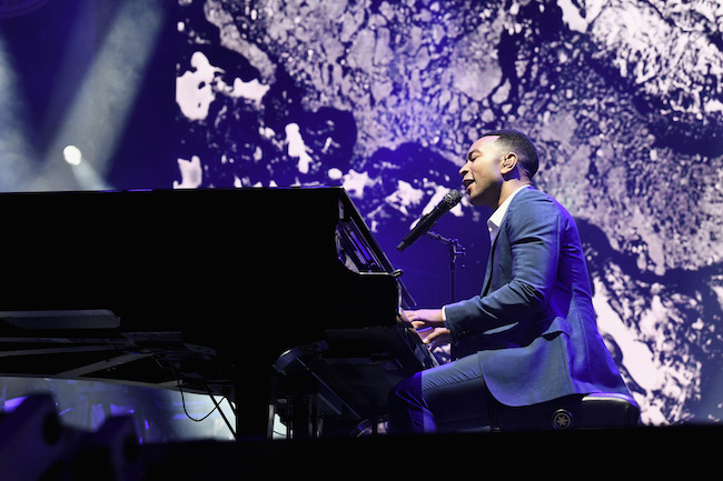 John Legend performs on stage at the Fourth Annual Los Angeles Dodgers Foundation Blue Diamond Gala at Dodger Stadium on June 11, 2018 in Los Angeles, California