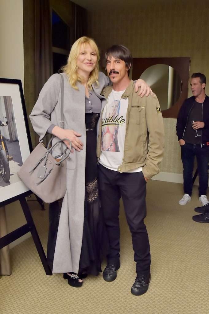 Courtney Love (L) and Anthony Kiedis attend Diesel Presents Scott Lipps Photography Exhibition 'Rocks Not Dead' at Sunset Tower on June 28, 2018 in Los Angeles, California