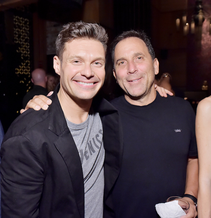 Ryan Seacrest (L) and Mike Meldman at the Casamigos House of Friends Dinner on June 8, 2018 in Hollywood, California