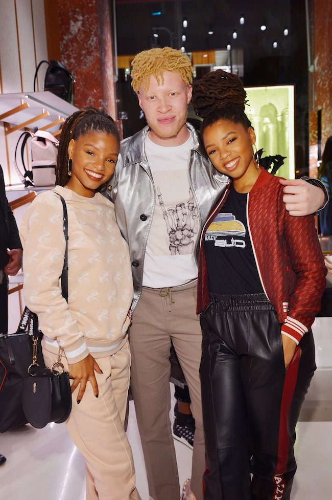 (L-R) Halle Bailey, Shaun Ross and Chloe Bailey attend Swizz Beatz presents Bally x Shok-1 at Bally on October 18, 2018 in Beverly Hills, California