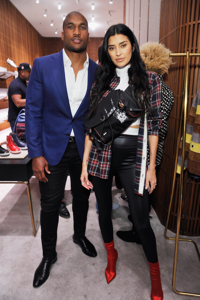 Larry English and Nicole Williams attend Swizz Beatz presents Bally x Shok-1 at Bally on October 18, 2018 in Beverly Hills, California