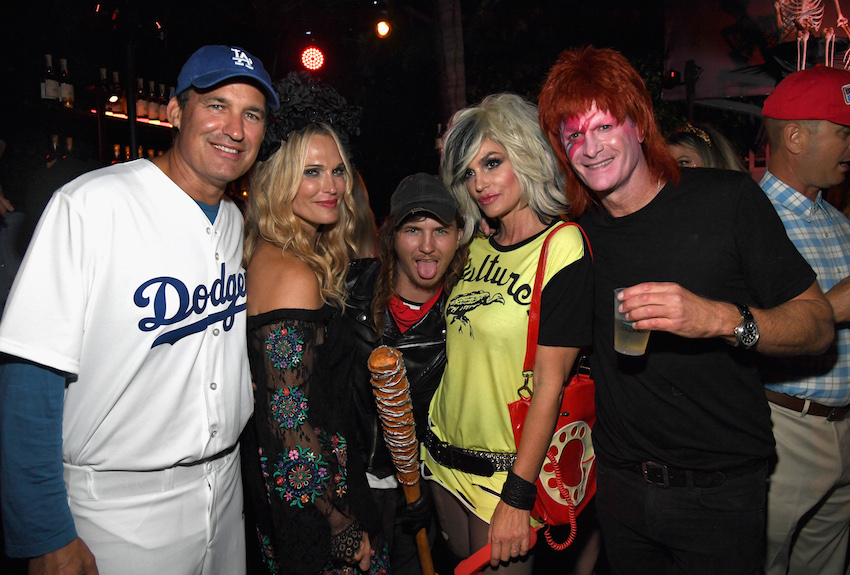 (L-R) Scott Stuber, Molly Sims, Cambo, Cindy Crawford, and Rande Gerber attend the Casamigos Halloween Party on October 26, 2018 in Beverly Hills, California