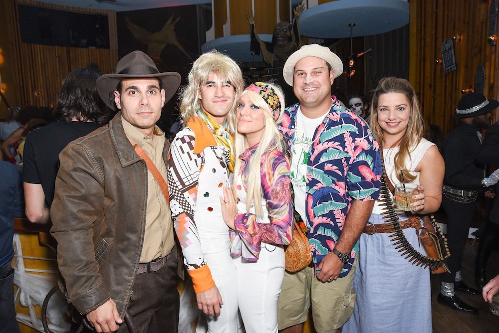 Eric Podwall; Darren Criss; Mia Swier, Max Adler and Jennifer Bronstein attend Podwall Entertainment's 9th Annual Halloween Party Presented By Makers Mark at The Peppermint Club on October 31, 2018 in Los Angeles, California
