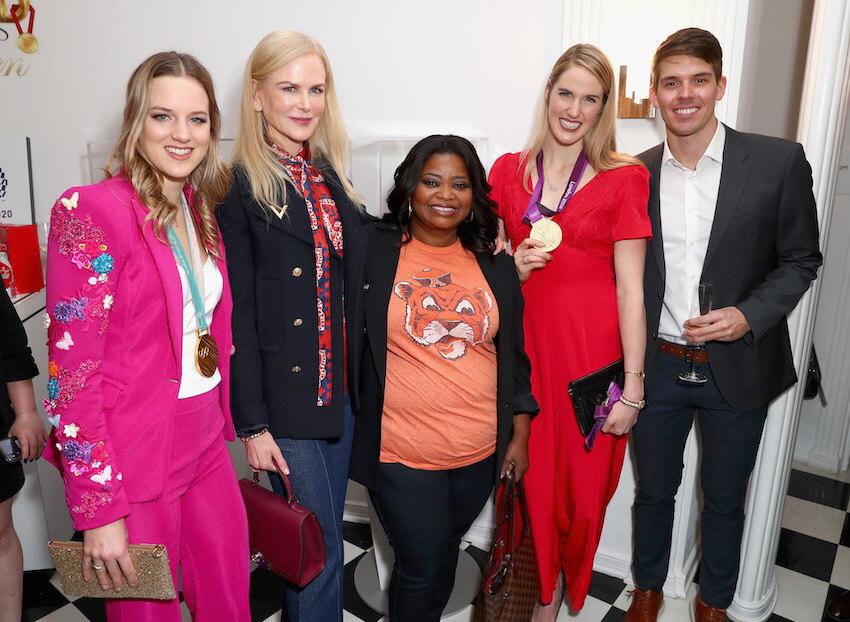 (L-R) Cassie Sharpe, Nicole Kidman, Octavia Spencer, Missy Franklin and Mac Bohonnon attend The 6th Annual