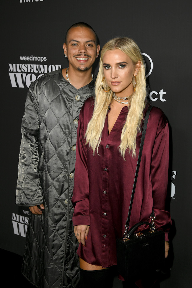 Evan Ross (L) and Ashlee Simpson attend Weedmaps Museum Of Weed exclusive preview event on August 01, 2019 in Los Angeles, California