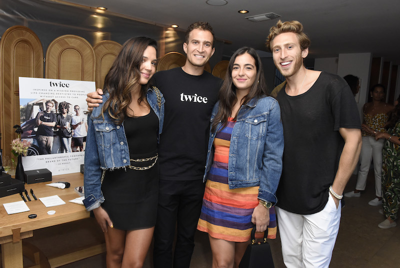(L-R) Georgie Flores, Twice Founder Julian Levine, Alanna Masterson and Twice Founder Cody Levine attend the Rothy's Conscious Cocktails event at a private residence on August 20, 2019 in Los Angeles, California