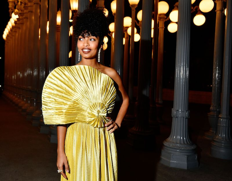 Yara Shahidi, wearing Gucci, attends the 2019 LACMA Art + Film Gala Presented By Gucci at LACMA on November 02, 2019 in Los Angeles, California