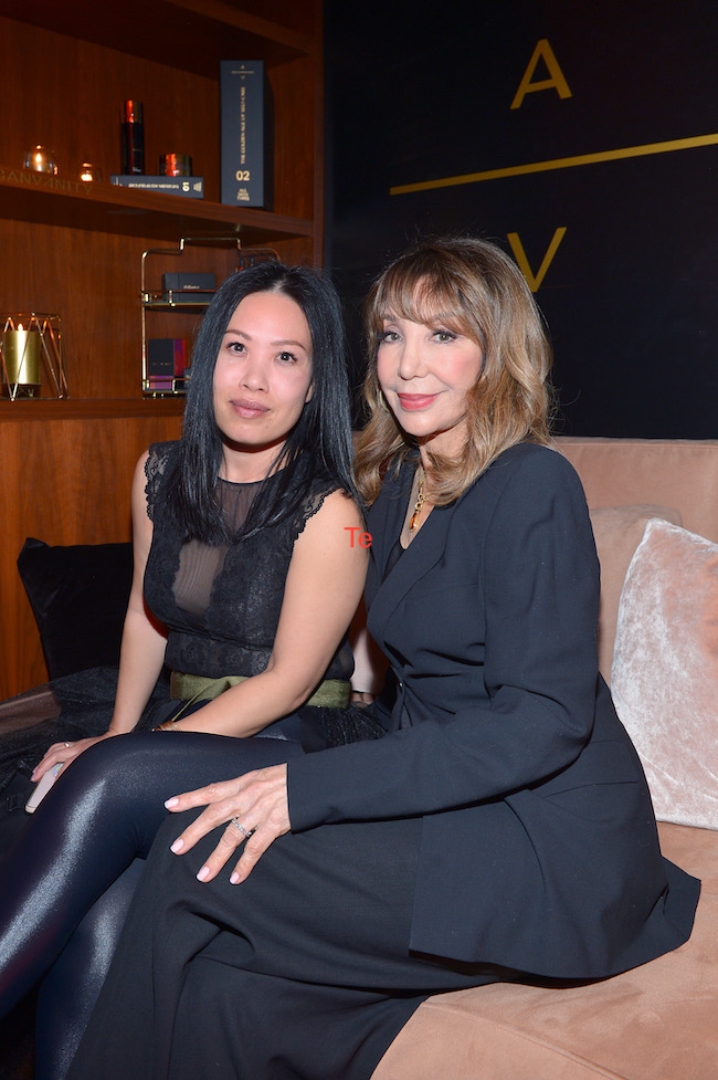 (L-R) Mary Nguyen and Veronica Barton-Schwartz attend the American Vanity Skincare Launch Party at Sunset Tower on March 04, 2020 in Los Angeles, California